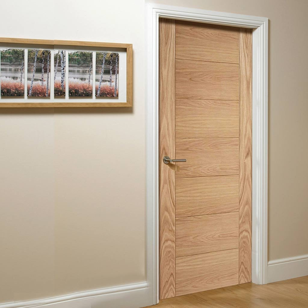 FD30 Fire Door, Carini 7 Panel Oak Flush Door - 30 Minute Fire Rated - Prefinished