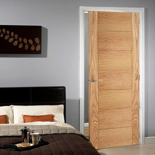 Image: door set kit carini 7p oak flush door prefinished