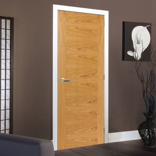 Image: Brisa Ostria Flush Oak Veneered Door - Prefinished