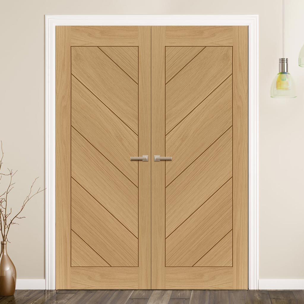 Torino Oak Door Pair - 1/2 Hour Fire Rated - Prefinished