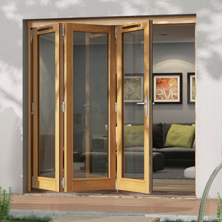 Image: Jeld-Wen Canberra Stained Oak Fold and Slide Solid Patio Doorset, SFCAN243R, Right, 2094mm Wide
