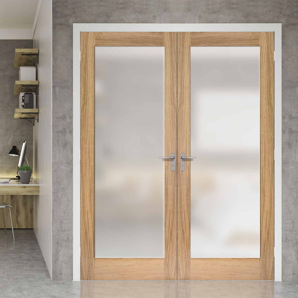 Pattern 10 Oak Door Pair - Full Pane Frosted Glass