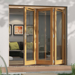 Image: Jeld-Wen Canberra Stained Oak Fold and Slide Solid Patio Doorset, SFCAN243L, Left, 2094mm Wide