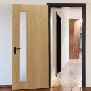 Image: Bespoke Fire Door - Flush American White Oak Veneer - 30 Minute Fire Rated - Clear Glass - 06 - Prefinished
