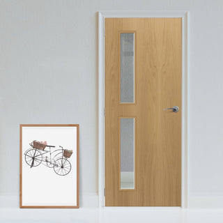Image: Bespoke Fire Door - Flush American White Oak Veneer - 30 Minute Fire Rated - Clear Glass - 07 - Prefinished