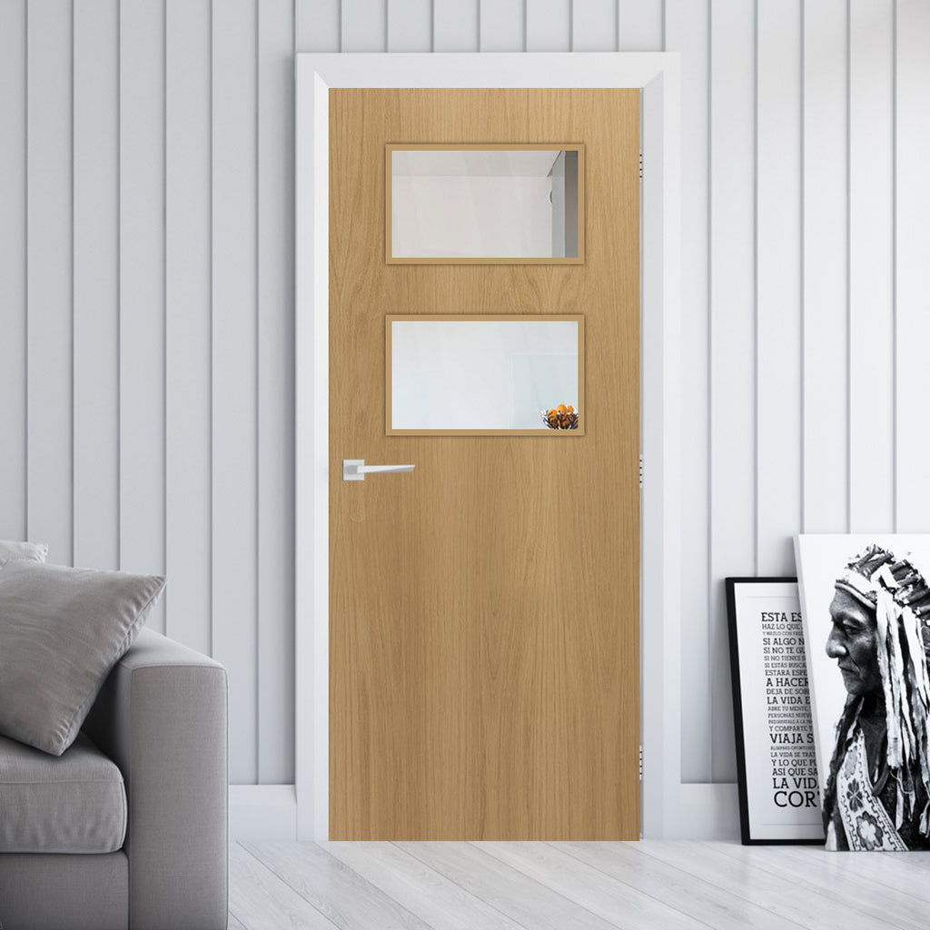Bespoke Fire Door - Flush American White Oak Veneer - 30 Minute Fire Rated - Clear Glass - 02 - Prefinished