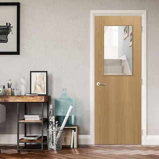 Image: Bespoke Fire Door - Flush American White Oak Veneer - 30 Minute Fire Rated - Clear Glass - 01 - Prefinished