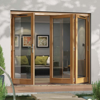 Image: Jeld-Wen Canberra Stained Oak Fold and Slide Solid Patio Doorset, OCAN21 1L2R, 1 Left - 2 Right, 2094mm Wide