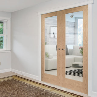 Image: Pattern 10 Oak 1 Pane Door Pair - Clear Glass
