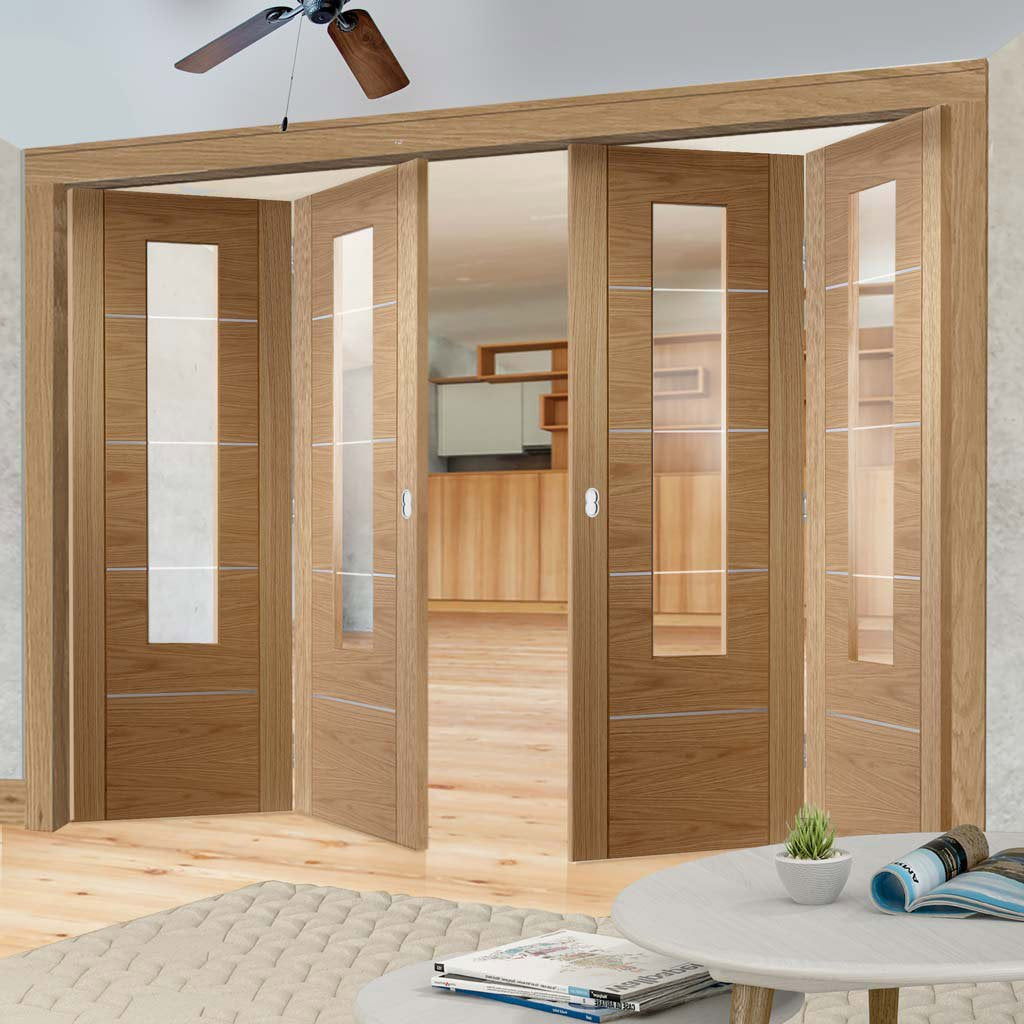 Four Folding Doors & Frame Kit - Portici Oak Flush 2+2 - Aluminium Inlay & Clear Glass - Prefinished