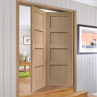 Image: Bespoke Thrufold Shaker Oak 4 Panel Folding 2+0 Door - Prefinished