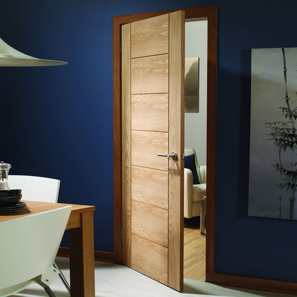 palermo flush oak door with panel effect