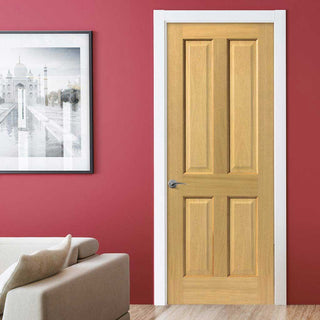 Image: J B Kind Oak Classic Sherwood 4 Panel Fire Door - 1/2 Hour Fire Rated - Prefinished