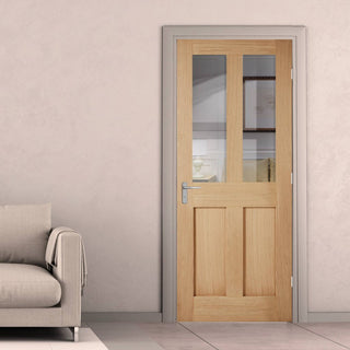 Image: london 2 pane 2 pane oak door clear glass
