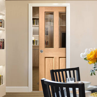 Image: Malton Oak Single Evokit Pocket Door - Bevelled Clear Glass - No Raised Moulding