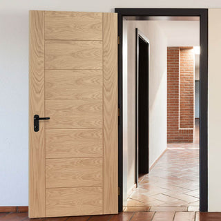 Image: Fire Rated Palermo Essential Oak Door - Unfinished - 1/2 Hour Fire Rated