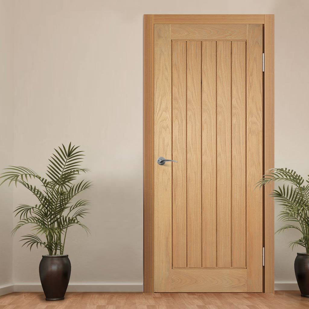 Mexicano Oak Door - Vertical Lining - Prefinished