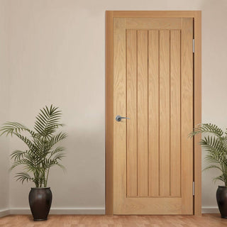 Image: Mexicano Oak Door with Vertical Lining is Pre-finished