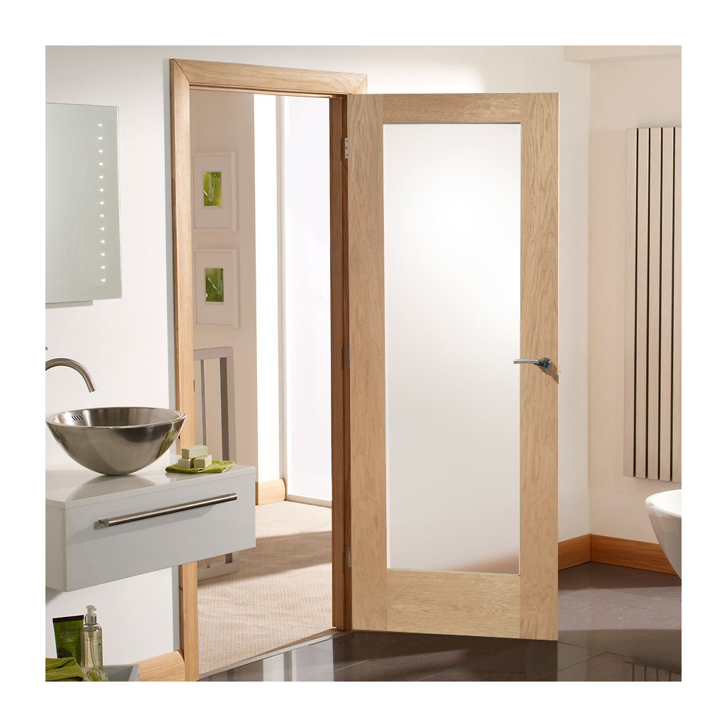 Door and Frame Kit, Patt 10 Oak Shaker Door - Obscure Glass - Prefinished
