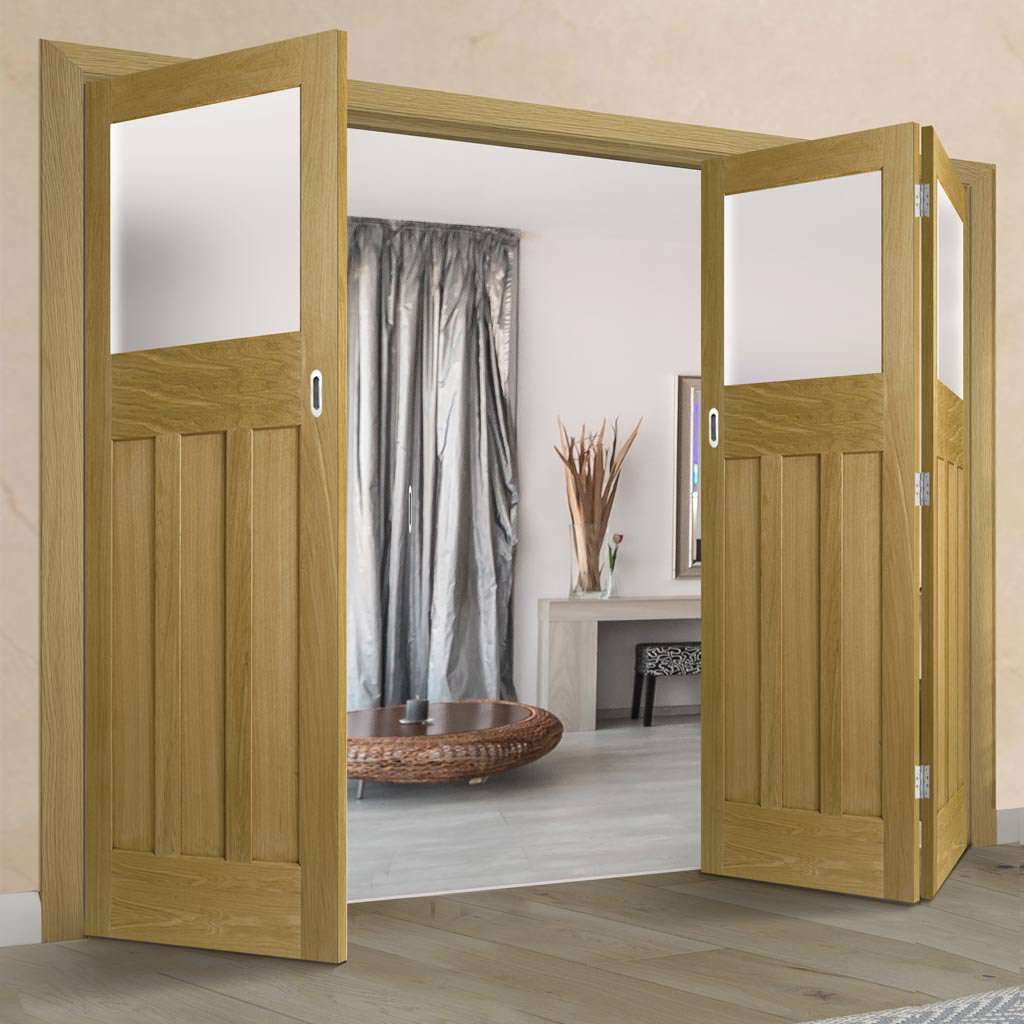 Three Folding Doors & Frame Kit - 1930's Oak Solid 2+1 - Frosted Glass