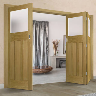 Image: Three Folding Doors & Frame Kit - 1930's Oak Solid 2+1 - Frosted Glass