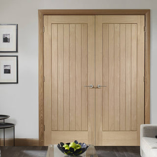 Image: Bespoke Suffolk Oak Door Pair - Vertical Lining - Prefinished