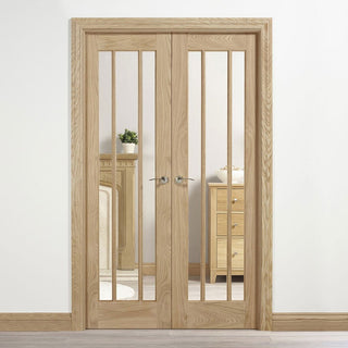 Image: W4 Lincoln Room Divider Door & Frame Kit - Clear Glass - Unfinished Oak - 2031x1246mm Wide