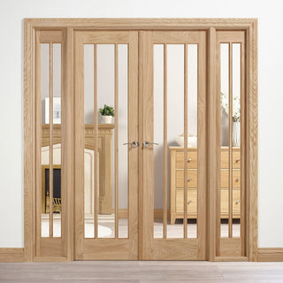Image: W6 Lincoln Room Divider Door & Frame Kit - Clear Glass - Unfinished Oak - 2031x1904mm Wide