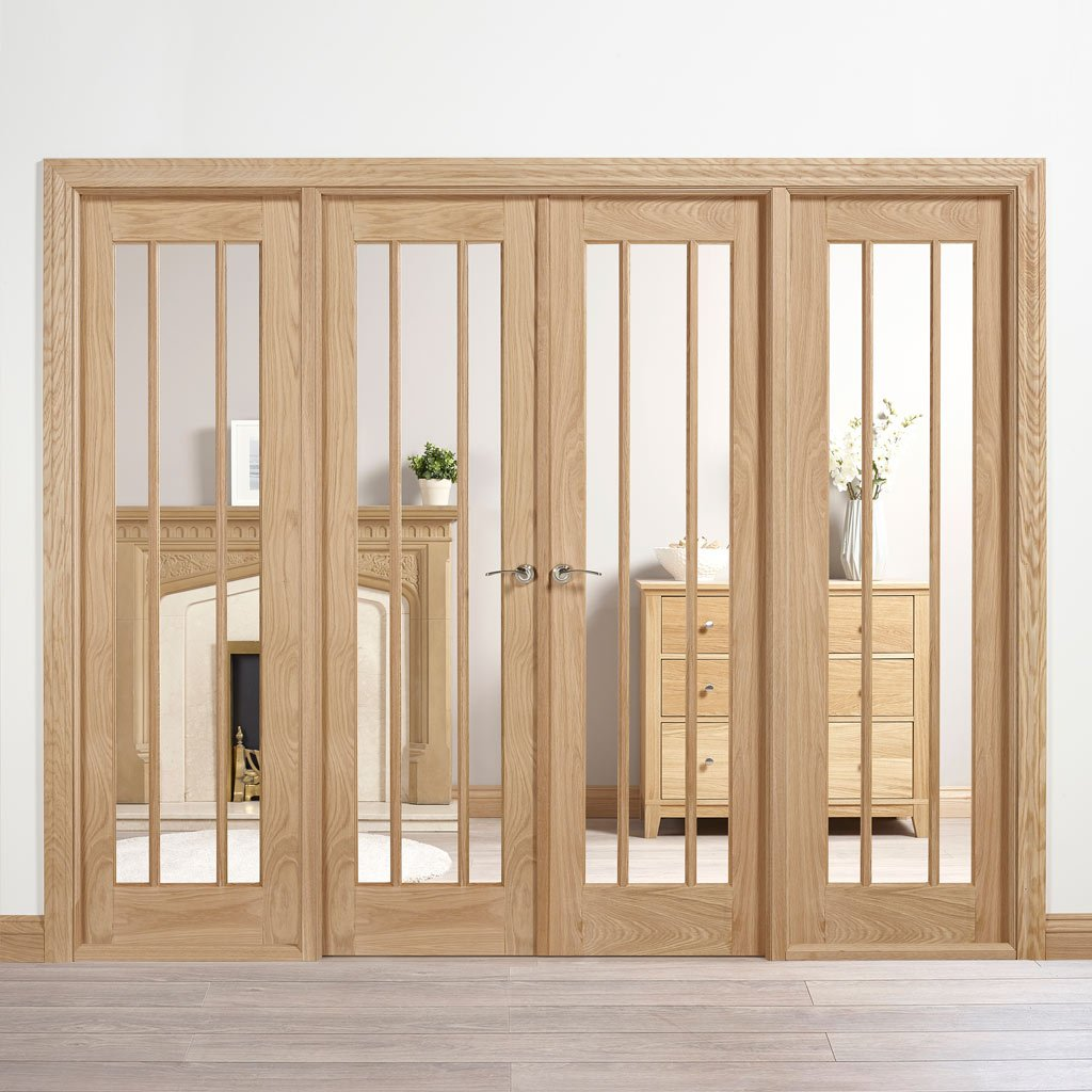 W8 Lincoln Room Divider Door & Frame Kit - Clear Glass - Unfinished Oak - 2031x2478mm Wide