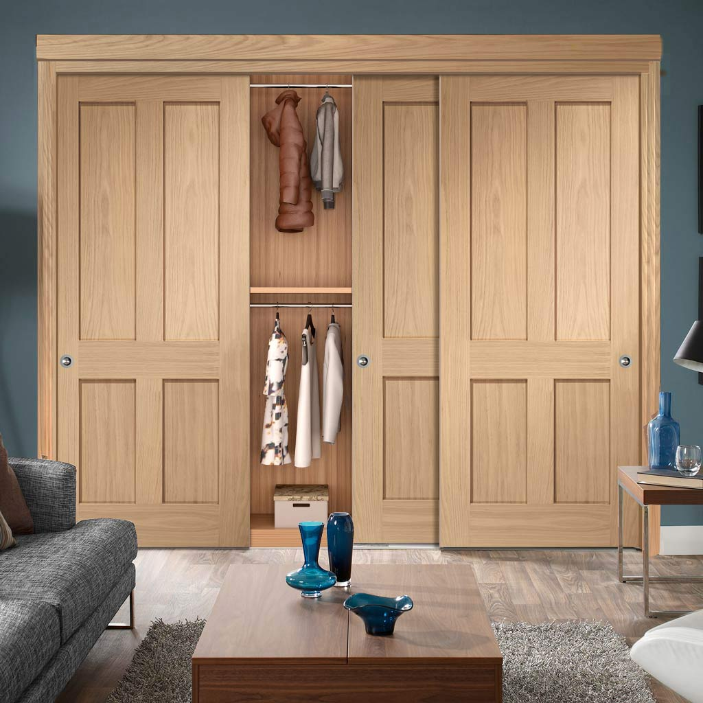 Minimalist Wardrobe Door & Frame Kit - Three Victorian 4 Panel Oak Shaker Door
