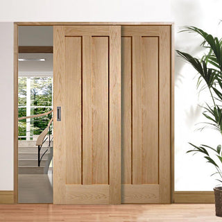 Image: Thruslide Novara Oak 2 Panel - 2 Sliding Doors and Frame Kit