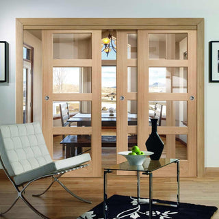 Image: Thruslide Shaker Oak 4 Pane - 3 Sliding Doors and Frame Kit - Clear Glass - Prefinished