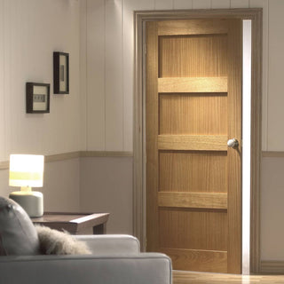 Image: contemporary 4 panel oak solid door
