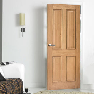 Image: Door and Frame Kit, Regency Oak 4 Panelled Solid Door - Raised Mouldings