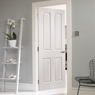 Image: JELD-WEN Oakfield 4 Panel 35mm Woodgrained Fire Door - White Primed