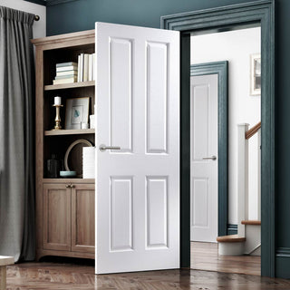 Image: JELD-WEN Internal Oakfield Woodgrain Door - White - Moulded Range