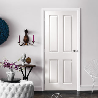 Image: JELD-WEN Internal Oakfield Middleweight Woodgrain Door - White - Moulded Range
