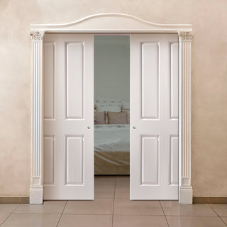 Image: JELD-WEN INTERNAL Oakfield Middleweight Double Evokit Pocket Door - Primed - Moulded Range