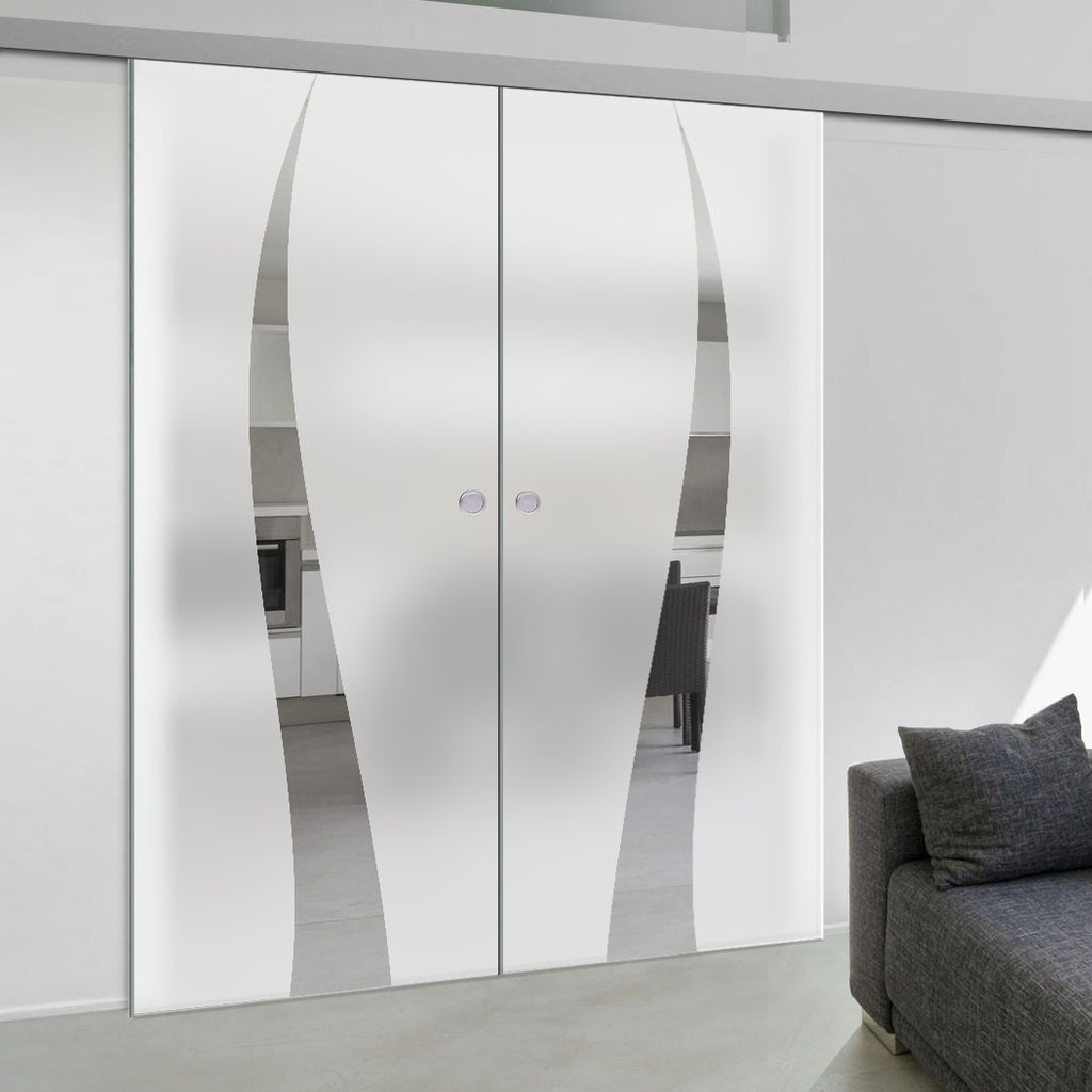 Double Glass Sliding Door - Roslin 8mm Obscure Glass - Clear Printed Design - Planeo 60 Pro Kit