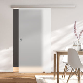 Image: Single Glass Sliding Door - Moor 8mm Obscure Glass - Planeo 60 Pro Kit