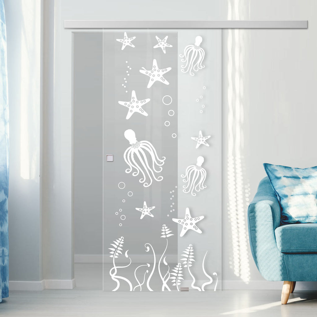 Single Glass Sliding Door - Octopus 8mm Clear Glass - Obscure Printed Design with Premium Track