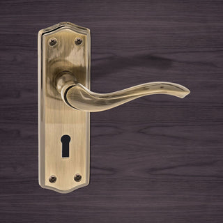 Image: Warwick Old English Lever on Backplate - Key - Antique Brass