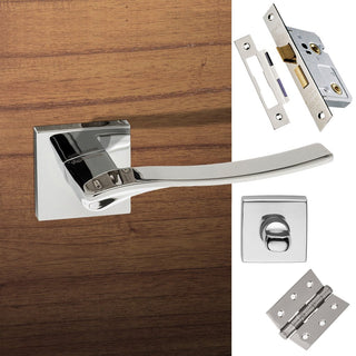 Image: Olimpia Forme Designer Bathroom Lever on Minimal Square Rose - Polished Chrome Handle Pack