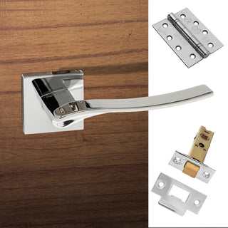 Image: Olimpia Forme Designer Fire Lever on Minimal Square Rose - Polished Chrome Handle Pack
