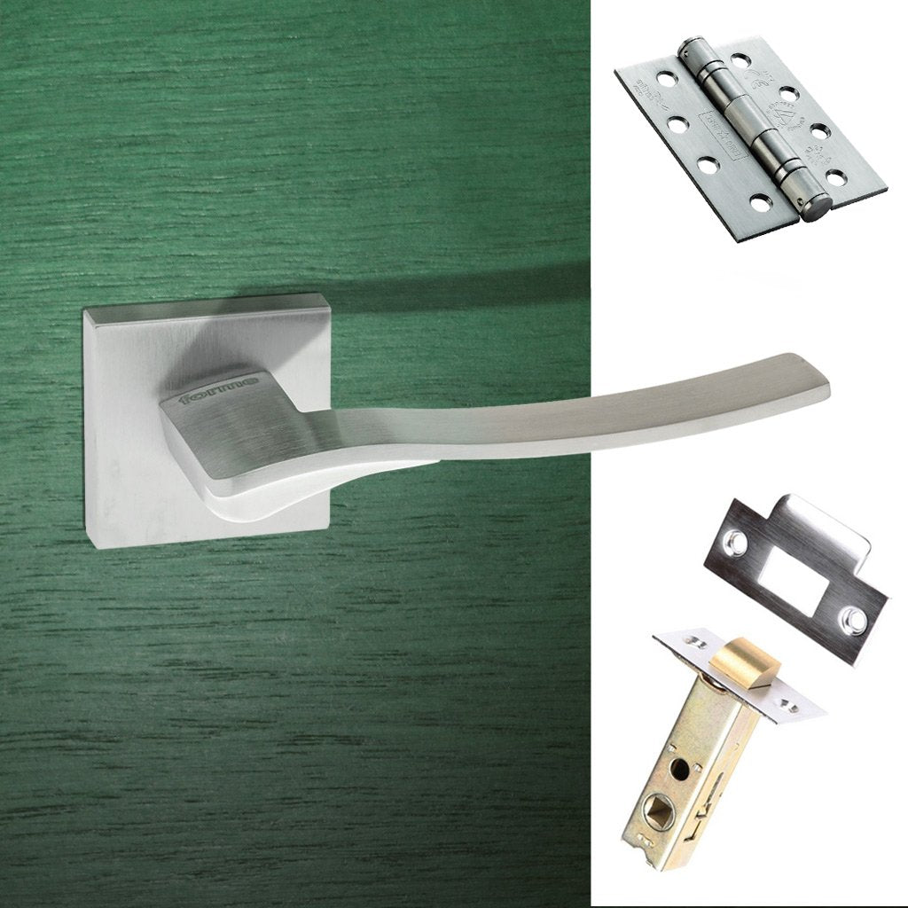 Olimpia Forme Designer Fire Lever on Minimal Square Rose - Satin Chrome Handle Pack