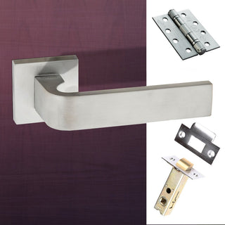 Image: Monza Forme Designer Fire Lever on Minimal Square Rose - Satin Chrome Handle Pack