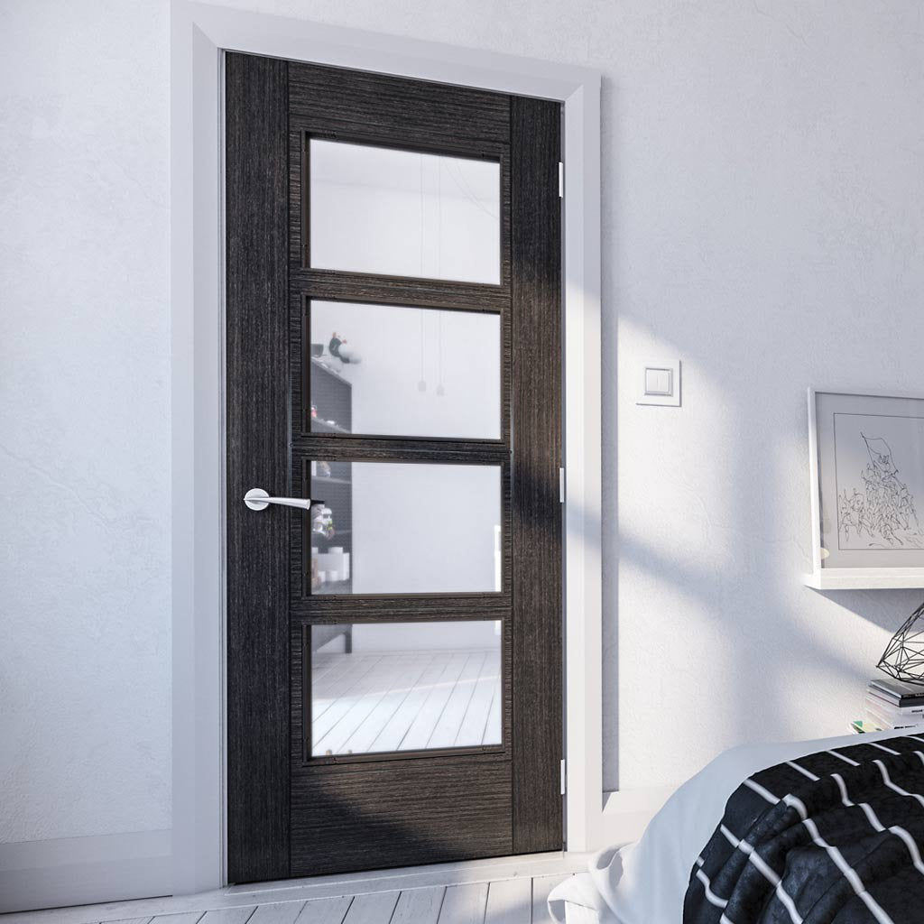 Montreal Prefinished Dark Grey Ash Door - Clear Glass