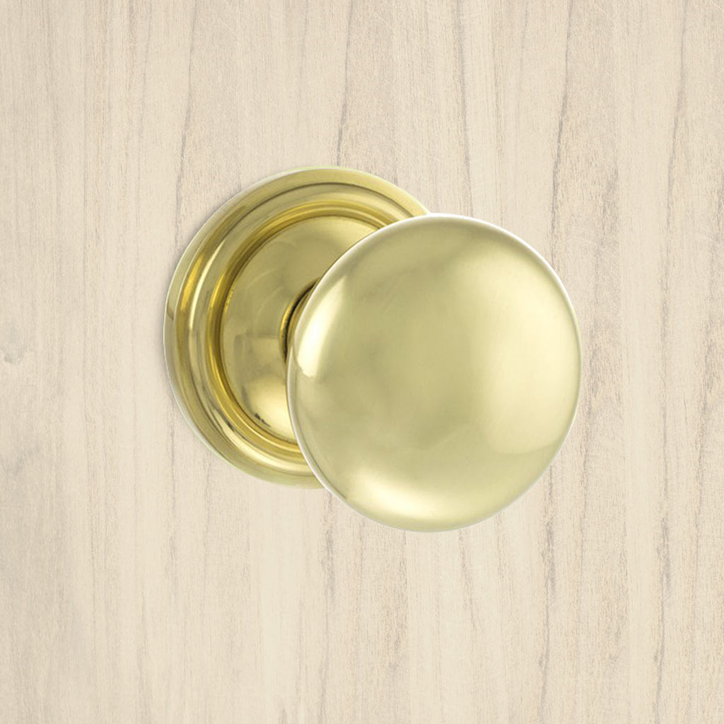 Harrogate Mushroom Old English Mortice Knob - Polished Brass