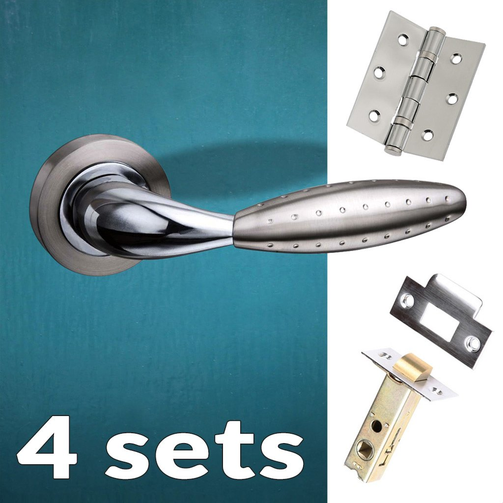Four Pack Oran Mediterranean Lever On Rose - Satin Nickel - Polished Chrome Handle