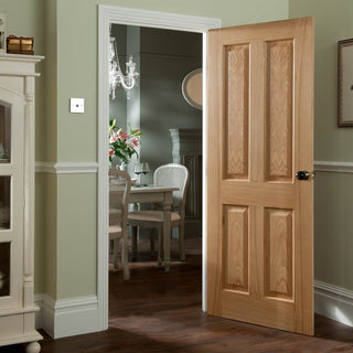 Image: JELD-WEN INTERNAL 4 Panel 35mm Oak Fire Door - Unfinished - Oregon Range